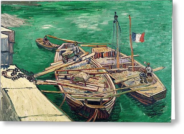 Post-impressionism Greeting Cards - Landing Stage With Boats, 1888 Oil On Canvas Greeting Card by Vincent van Gogh