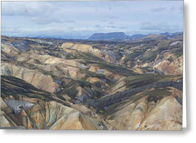 Landmannalaugar Iceland Panorama 2 Greeting Card by Rudi Prott