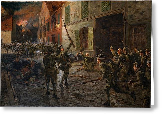 Bayonet Paintings Greeting Cards - Landrecies, 25th August 1914, 1915 Greeting Card by William Barnes Wollen