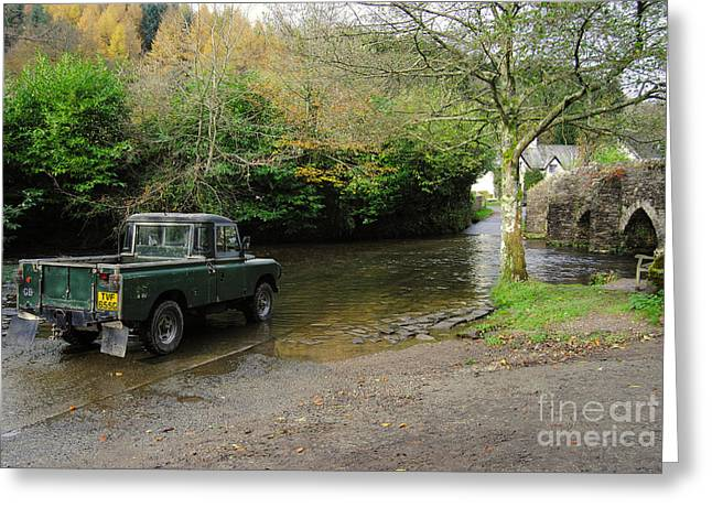 Packhorse Greeting Cards - Landrover and the Ford  Greeting Card by Rob Hawkins