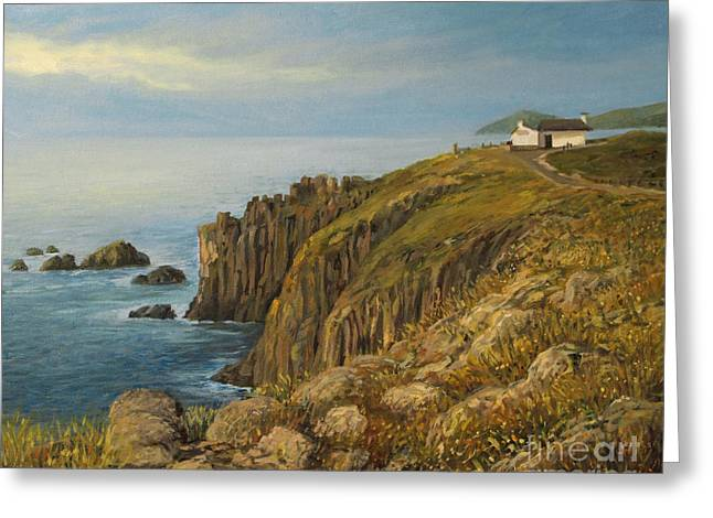 Panoramic Ocean Paintings Greeting Cards - Lands End in Cornwall Greeting Card by Kiril Stanchev