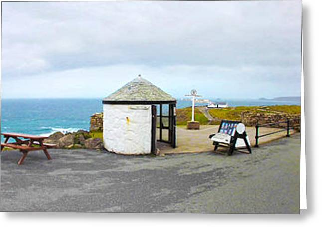 Cape Cornwall Greeting Cards - Lands End Panoramic Greeting Card by Linsey Williams