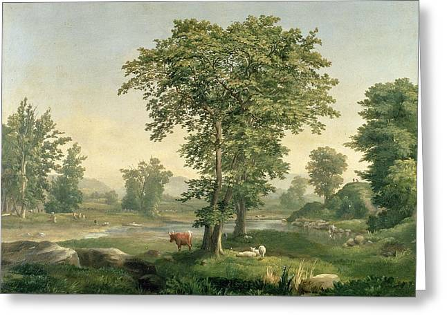 Rural Schools Paintings Greeting Cards - Landscape, 1846 Greeting Card by George Snr. Inness