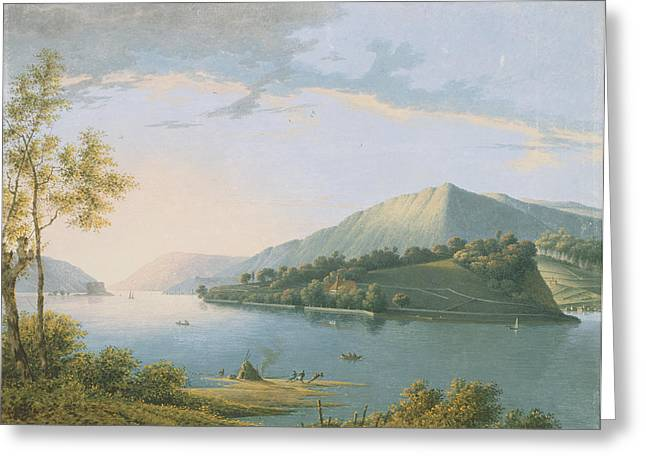 River Paintings Greeting Cards - Landscape Along The Rhine Greeting Card by Joseph August Knip