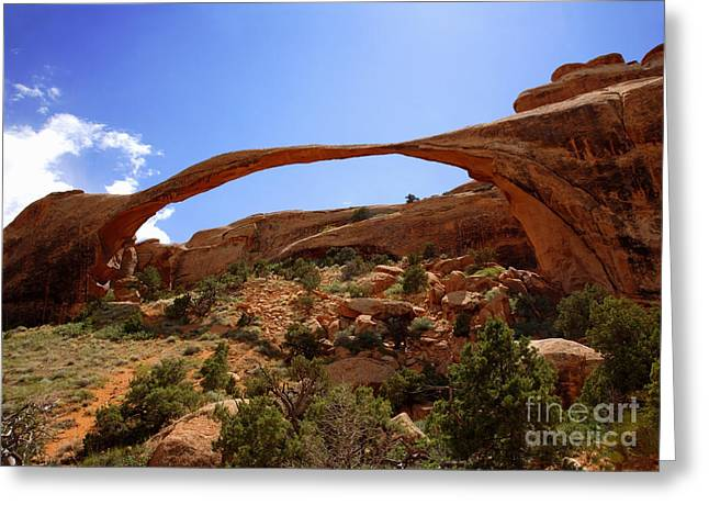 A Natural Bridge Greeting Cards - Landscape Arch Arches National Park Greeting Card by Rosemary Calvert