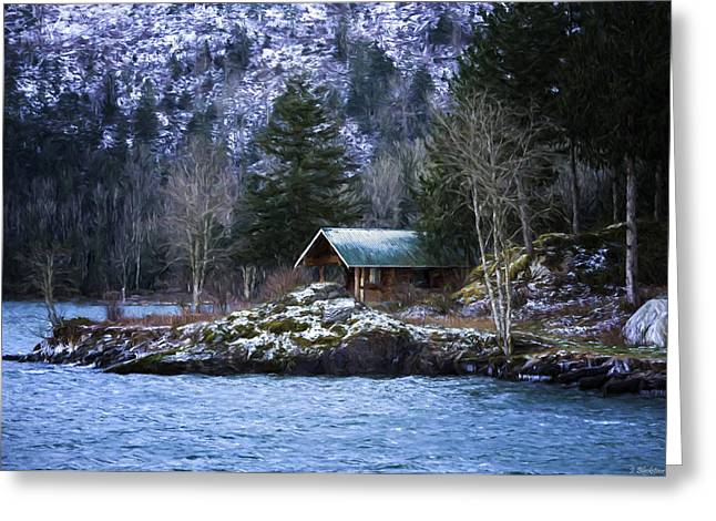 Log Cabins Greeting Cards - Landscape Art - Get Away From It All Greeting Card by Jordan Blackstone