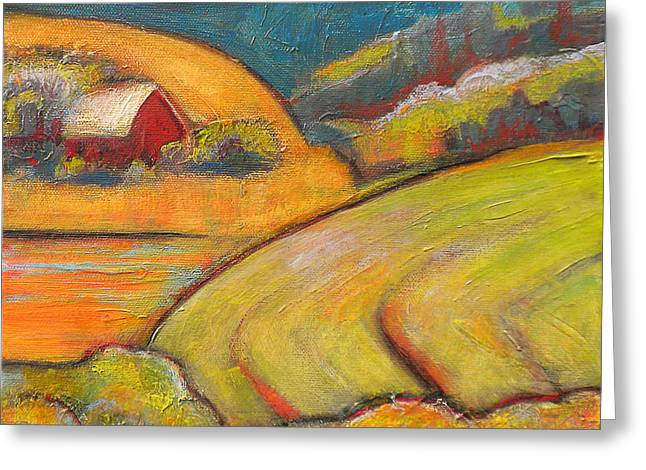 Landscape Art Orange Sky Farm Greeting Card by Blenda Studio