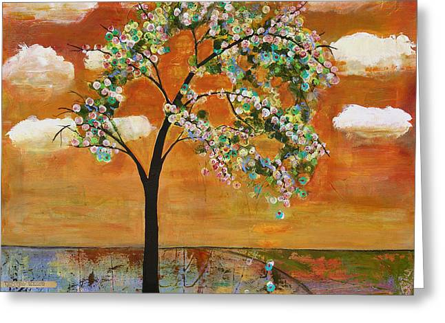 Willamette Greeting Cards - Landscape Art Scenic Tree Tangerine Sky Greeting Card by Blenda Studio
