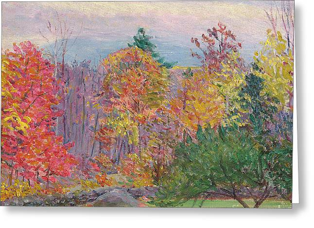 New Hampshire Leaves Greeting Cards - Landscape at Hancock in New Hampshire Greeting Card by Lilla Cabot Perry