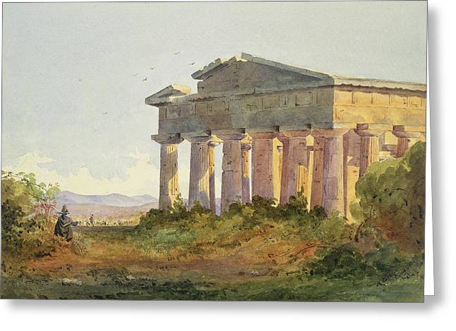 Ruins Paintings Greeting Cards - Landscape at Paestum Greeting Card by Arthur Glennie