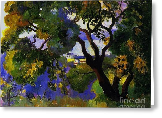 Landscape At St Tropez  2 Greeting Card by Pg Reproductions