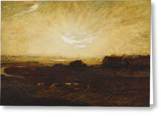 Marie Auguste Emile Rene Greeting Cards - Landscape at sunset Greeting Card by Marie Auguste Emile Rene Menard