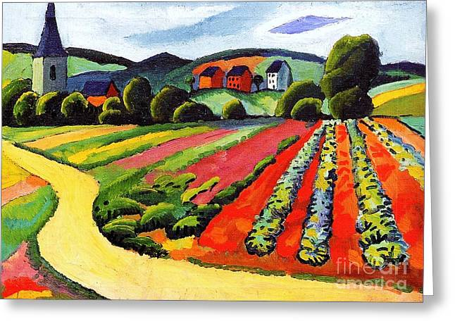 Macke Greeting Cards - Landscape at the Tegersee Greeting Card by Pg Reproductions
