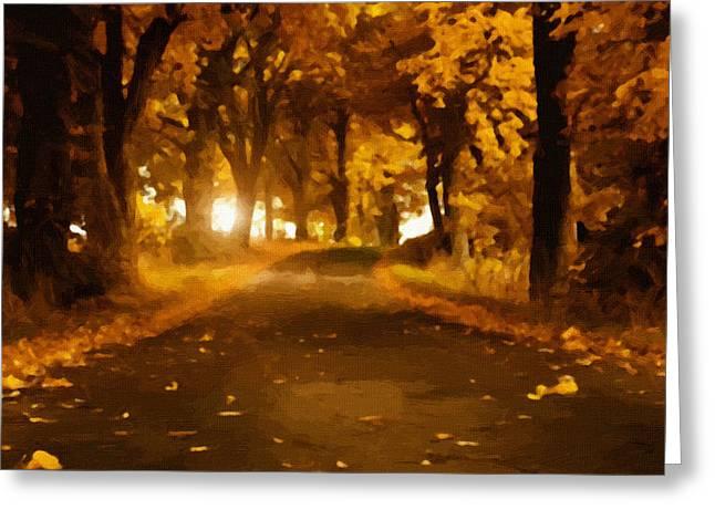 Sunset Framed Prints Greeting Cards - Landscape Autumn Greeting Card by Victor Gladkiy