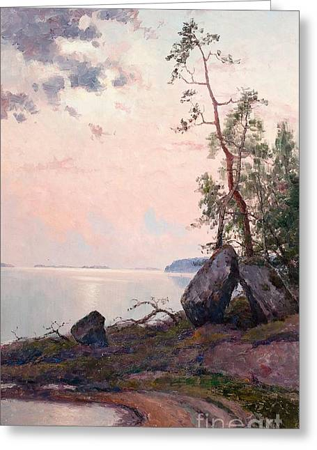 Oslo Paintings Greeting Cards - Landscape By The Lake Greeting Card by Ellen Favorin