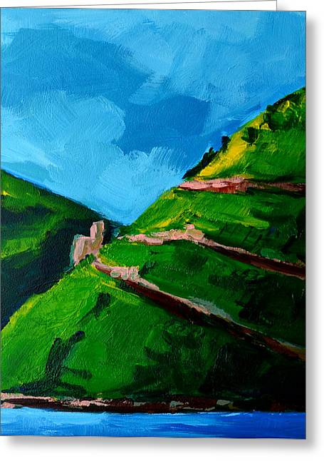 Spectacular Paintings Greeting Cards - Landscape Castle along the River Rhine Greeting Card by Patricia Awapara