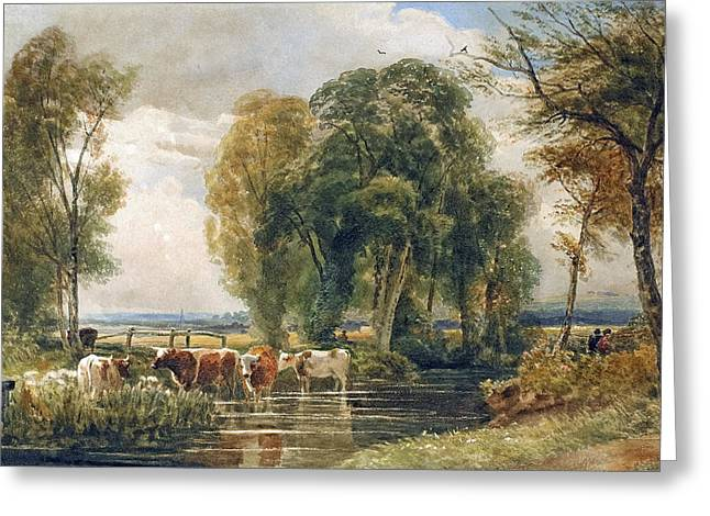 Gate Landscape Greeting Cards - Landscape cattle in a stream with sluice gate Greeting Card by Peter de Wint