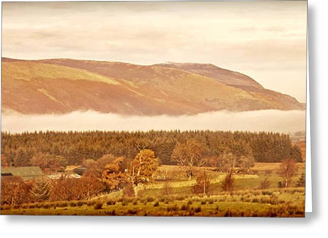 Wainwright Greeting Cards - Landscape Cumbrian Panorama Greeting Card by Linsey Williams