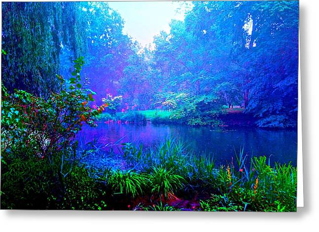 Maggie Vlazny Greeting Cards - Blue Landscape Greeting Card by Maggie Vlazny
