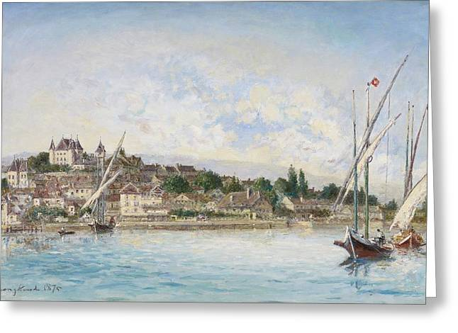 Blue Sailboat Greeting Cards - Landscape from Lake Leman to Nyon Greeting Card by Johan Barthold Jongkind
