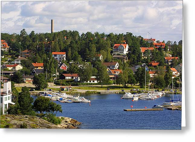 Redm Green Greeting Cards - Landscape Habor Sweden Greeting Card by Linda Phelps