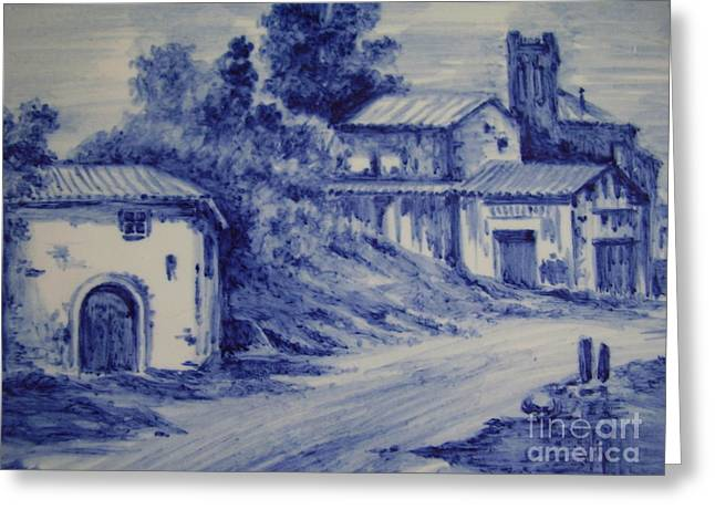Landscape Ceramics Greeting Cards - Landscape in blue Greeting Card by EDuran