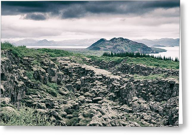 Landscape In Iceland - Lava Field And Lake Greeting Card by Matthias Hauser
