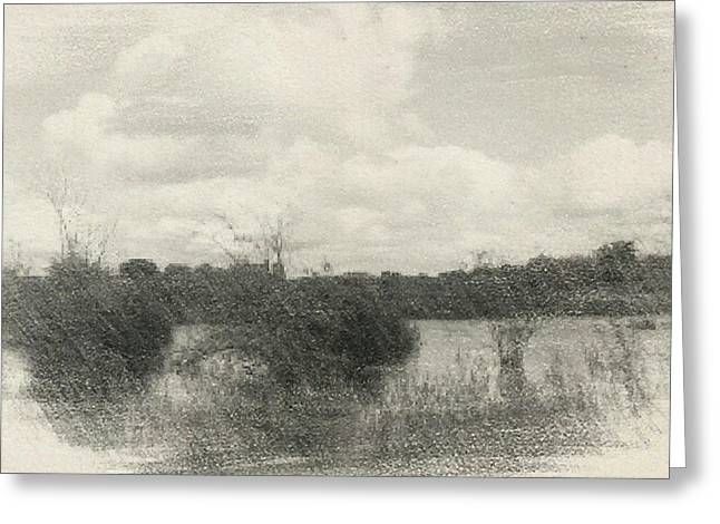Nature Scene Digital Art Greeting Cards - Landscape in Patches Greeting Card by Isabella F Abbie Shores LstAngel Arts