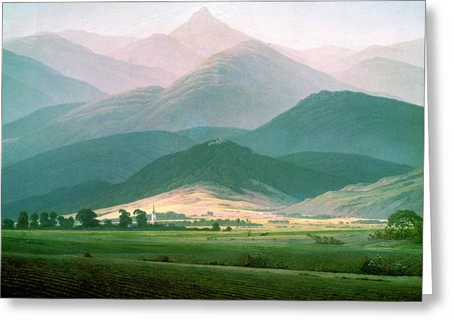 Mountainous Greeting Cards - Landscape In The Riesengebirge, 1810-11 Oil On Canvas Greeting Card by Caspar David Friedrich