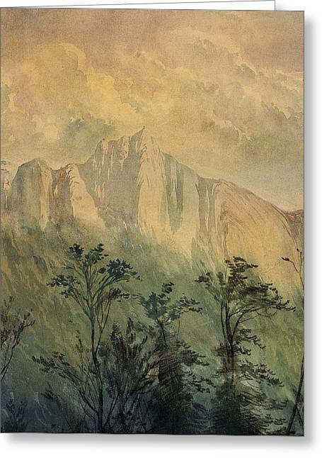 Prints For Sale Art Greeting Cards - Landscape in the Vosges Greeting Card by Gustave Dore