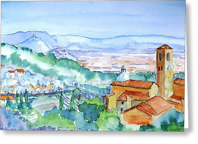 Italian Culture.italian Renaissance Greeting Cards - Landscape in Tuscany with Medieval village  Greeting Card by Trudi Doyle