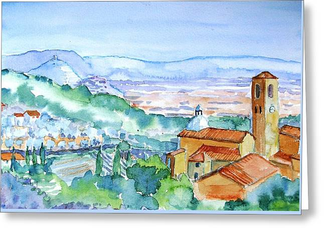Tuscany Valley  Medieval Village Of Massa Greeting Card by Trudi Doyle