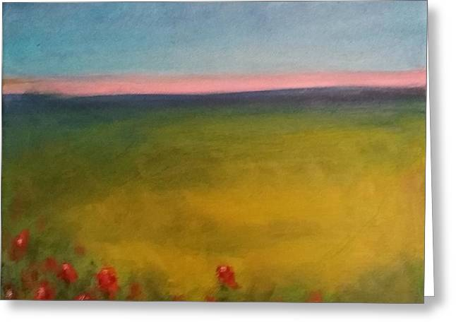Landscape In Violet With Red Flowers Greeting Card by Piotr Wolodkowicz