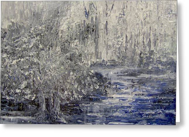Shesh Tantry Greeting Cards - Landscape in Winter Greeting Card by Shesh Tantry