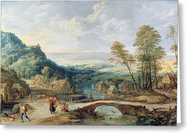 Village Life Greeting Cards - Landscape Greeting Card by Joos or Josse de, The Younger Momper
