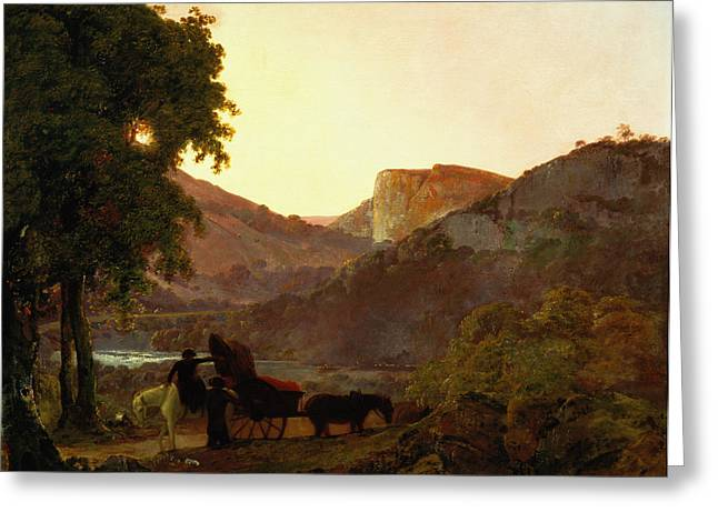 Horse And Cart Paintings Greeting Cards - Landscape Greeting Card by Joseph Wright of Derby
