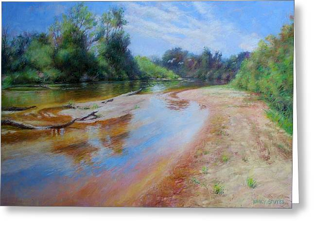 White River Scene Pastels Greeting Cards - Landscape Greeting Card by Nancy Stutes