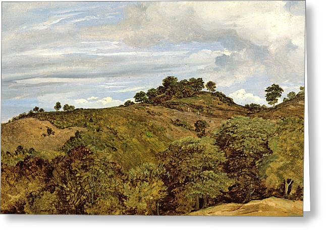 Undulating Greeting Cards - Landscape near Olevano Greeting Card by Heinrich Reinhold