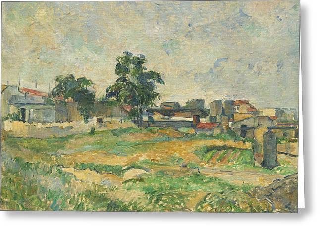 Farm Fields Paintings Greeting Cards - Landscape near Paris Greeting Card by Paul Cezanne