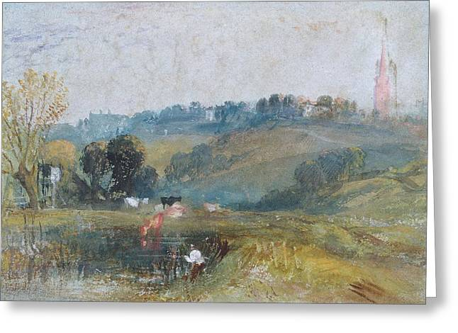 Spires Greeting Cards - Landscape Near Petworth, C.1828 Gouache Greeting Card by Joseph Mallord William Turner