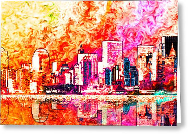 Best Seller Greeting Cards - Landscape New York city Greeting Card by Gaia Ragu