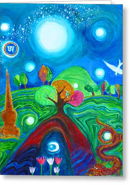 Dream Scape Greeting Cards - Landscape of Ancient Dreams Greeting Card by Wendy Le Ber