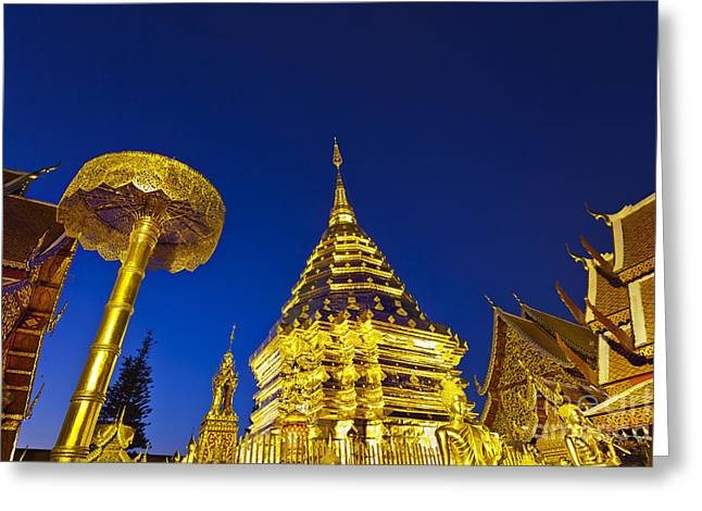 Suthep Greeting Cards - Landscape Of Big Pagoda Greeting Card by Anek Suwannaphoom