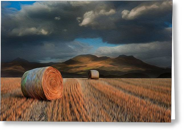 Hay Bales Greeting Cards - Landscape of hay bales in front of mountains digital painting Greeting Card by Matthew Gibson