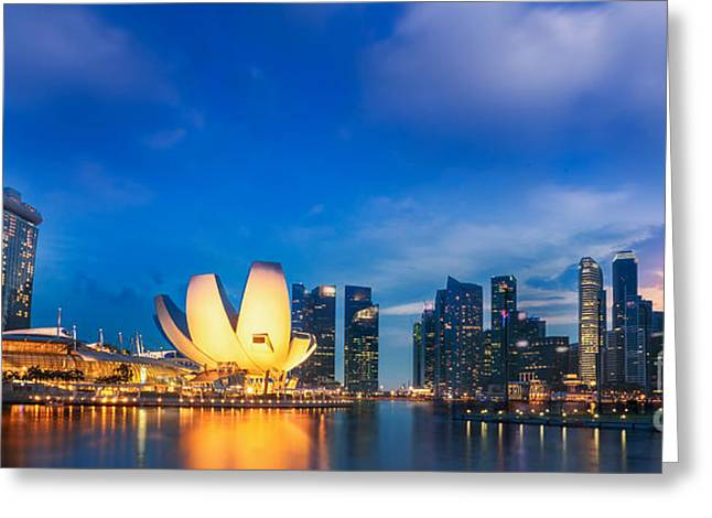 River View Greeting Cards - Landscape of Singapore city  Greeting Card by Anek Suwannaphoom