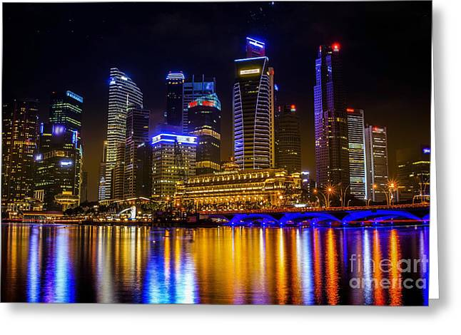 Landscape Of The Mer-lion And Singapore Greeting Card by Anek Suwannaphoom