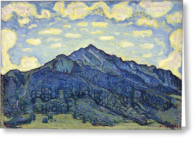 Swiss Paintings Greeting Cards - Landscape of the Swiss Alps Greeting Card by Ferdinand Hodler
