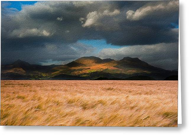 Hay Bales Greeting Cards - Landscape of windy wheat field in front of mountain range digital painting Greeting Card by Matthew Gibson