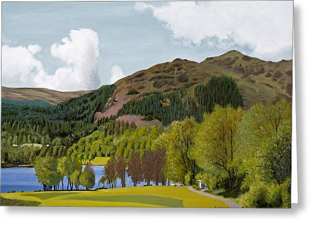 Seren Greeting Cards - Landscape Painting -Trossachs Scotland  Greeting Card by Daniel Fishback