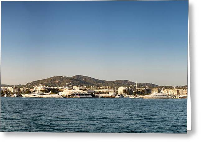 Ibiza Greeting Cards - Landscape panorama of Ibiza Old Town harbour Greeting Card by Matthew Gibson